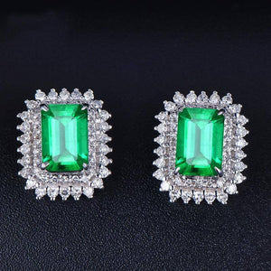 Emerald S925 Silver Color Earrings Women's Square Natural oorbellen aretes de mujer Orecchini Silver 925 Jewelry Stud Earrings | akolzol