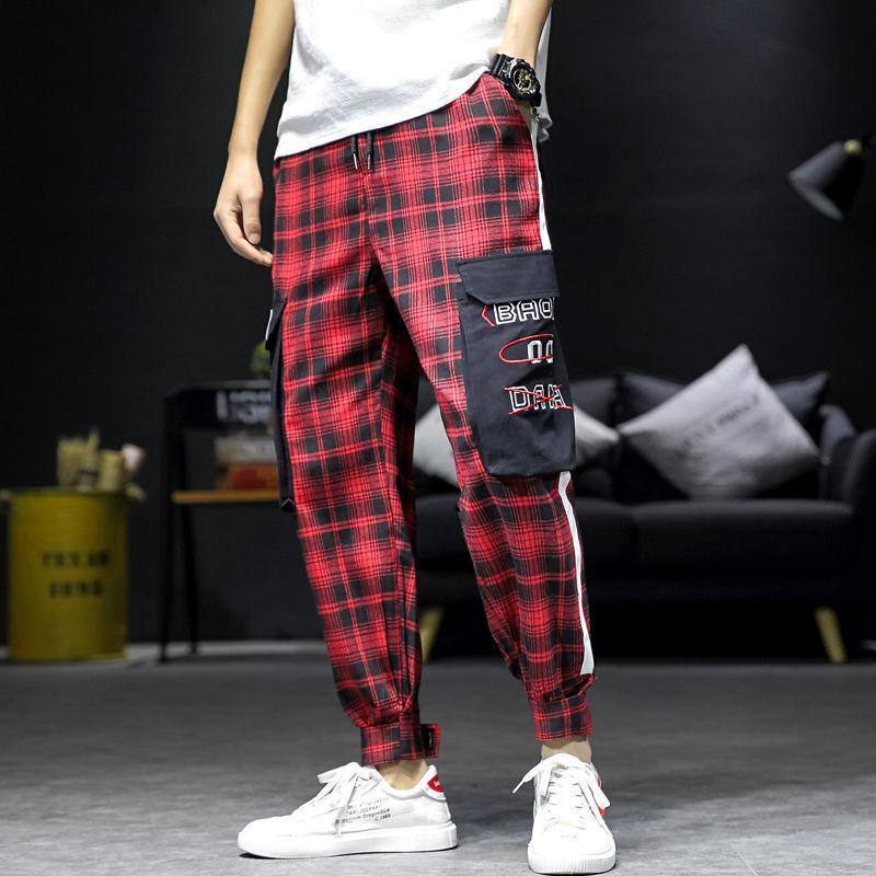 2020 spring and autumn fashion men's overalls loose Harun sports pants Plaid sports leisure pants | akolzol