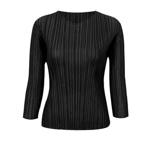 pleated women t-shirt 2020 autumn Korean fashion versatile long sleeve aesthetic design top plus size women clothing | akolzol