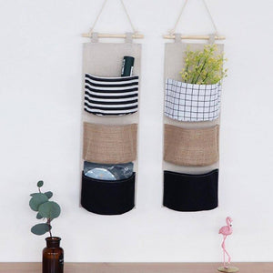 Polyester-cotton Blend Wall Hanging Storage Bags Waterproof Underwear Sundries  Pouch Cosmetics Pocket Wardrobe Organizer | akolzol