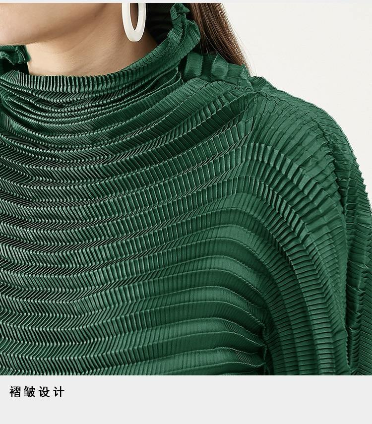 Pleated Blouse designer aesthetic clothes plus size women 2020 spring autumn long sleeve T-shirt texture Turtleneck Top | akolzol