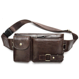 Luxury Men Casual Waist Pack Bag Genuine Leather Crossbody Bags Cowhide Fanny Packs Male Belt Bag Pouch For Money Phone | akolzol