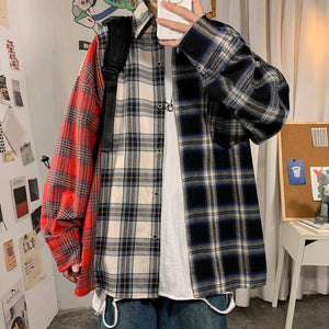 Autumn Cotton Plaid Shirt Men's Fashion Hit Color Retro Casual Shirts Mens Streetwear Loose Korean Long-sleeved Shirt Men M-5XL | akolzol