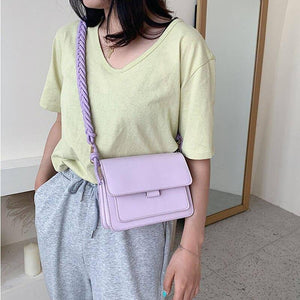 Braided Shoulder Strap Design Small Shoulder Bags For Women Solid Color Fashion Simple PU Leather Crossbody Bags Lady Handbags | akolzol
