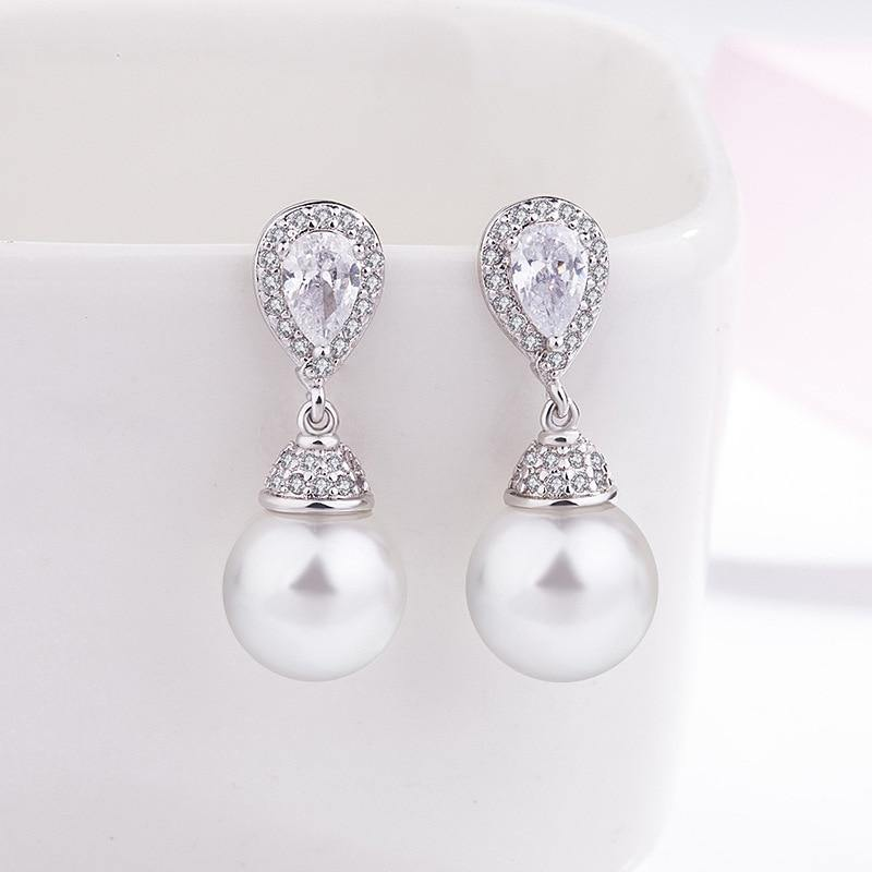 Pearl 925 Sterling Silver color Earring for Women Fashion Silver 925 Jewelry Gemstone Bizuteria Orecchini Pearl Drop Earring | akolzol