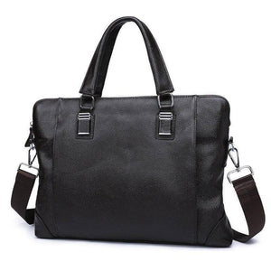 Natural cowskin men's bag briefcase handbag horizontal business laptop bags casual genuine leather men's shoulder messenger bag | akolzol