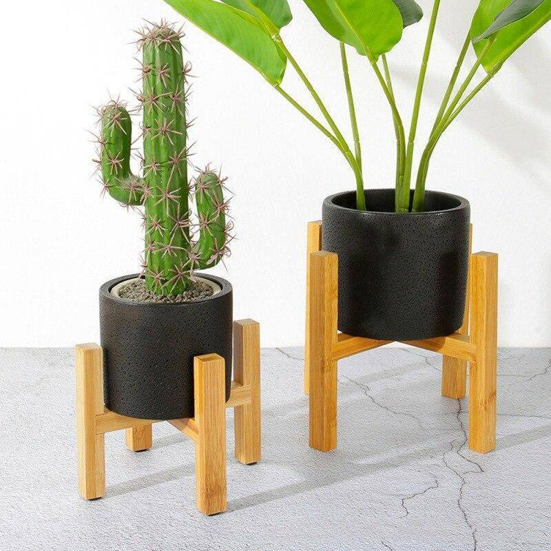 Flower Stand Flower Pot Tray Free Standing Balcony Bamboo  Wood Bonsai Plant Holder Home Office Pad Modern Shelf With Foot | akolzol
