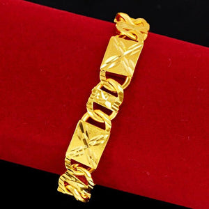 Not Fade Forever 24k Yellow Gold Bracelet for Men Square Shape Hand Chain 19CM Bracelet Fine Jewelry Gifts 24K Gold Jewelry Male (19cm Gold-color) | akolzol