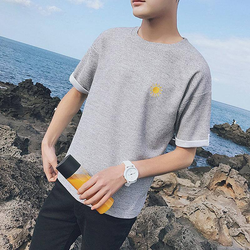 Summer Wear Round Collar Falling Shoulder Male Short Sleeve T-shirts Solid Loose Breathable Streetwear T Shirt Men's clothing | akolzol