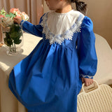 2021 Spring New Girls Dress Solid Girls Party Dress Long Sleeve Lace Princess Dress Kids Dress For Girls | akolzol