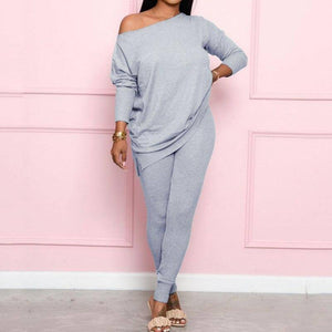 2020 Autumn Winter Off Shoulder Two Piece Set Women Sexy Outfits for Woman Loose Tracksuits Women Set Sweat Suits Ladies | akolzol