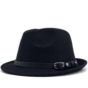 Winter Autumn Men's white Feminino Felt Fedora Hat for Gentleman Winter Wool Church Derby Bowler Homburg Jazz Hat Size 56-58cm | akolzol