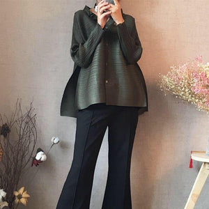 fall clothes for women 2020 New Pleated winter jacket women spring new design niche button blouse plus size shirt | akolzol