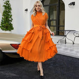 2021 spring summer women Indie aesthetic dress plus size women's shrink rope sleeveless Sashes Pleated Designer clothes | akolzol