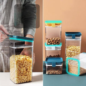 PP Food Storage Jar Airtight Plastic Clear Container Set  Kitchen Container Set With Bamboo Lid And Silicone Glass Preservation | akolzol