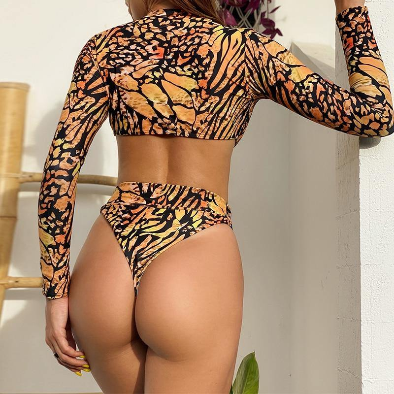 Long sleeve bikini 2020 Sexy bodysuits one-piece woman swimsuit female Leopard print swimwear women Sexy thong monokini | akolzol