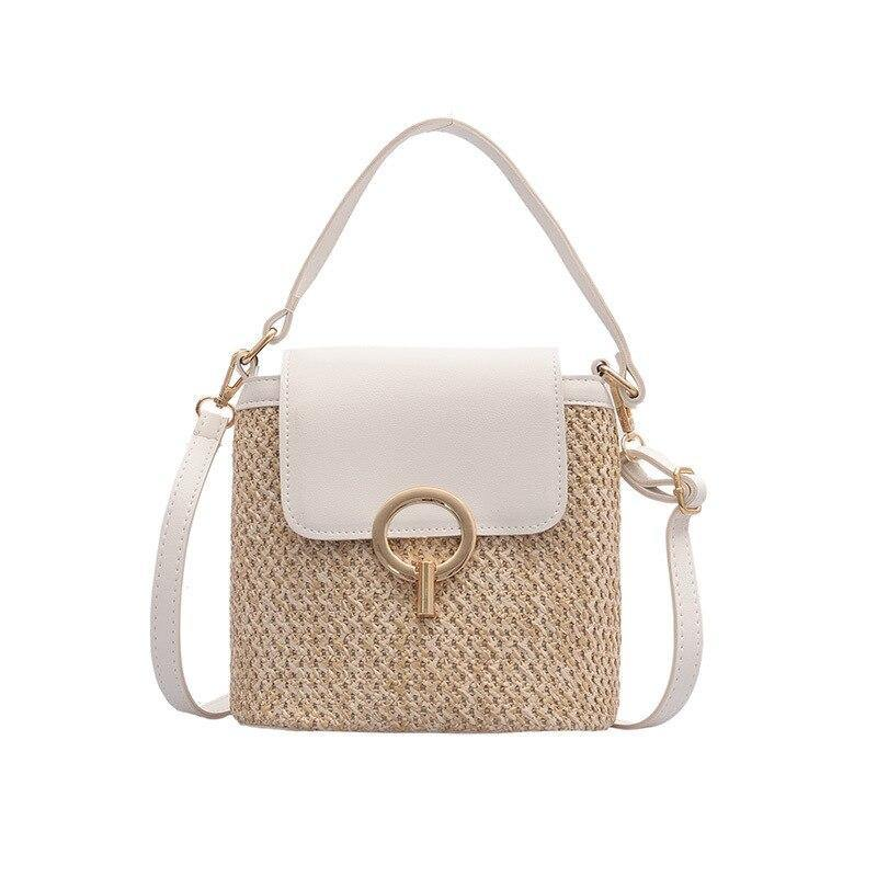 Fashion Women's Handbags Bucket Top-handle Sequined Summer Ladies Rattan Straw Totes Casual Crossbody Bags Shoulder Bags Female | akolzol