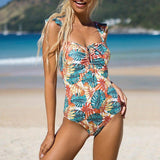 Floral print swimsuit Sexy ruffle one-piece suit High cut swimwear women Retro drawstring monokini Plus size bathing suit | akolzol