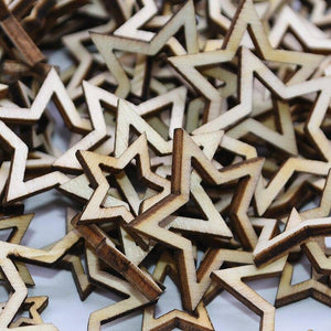 100Pcs 1-3cm Natural Hollow Star Shape Wood Pentagram Wooden Craft DIY Scrapbooking Embellishments Home Decoration | 100, 13, cm, Craft, Decoration, DIY, Embellishments, Hollow, Home, Natural, Pcs, Pentagram, Scrapbooking, Shape, Star, Wood, Wooden | akolzol
