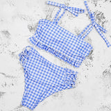Blue bandeau bikinis 2021 mujer Retro plaid print swimsuit High waist swimwear women Ruffle hollow bathing suit Beachwear | akolzol
