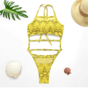 Lace up high cut bodysuit one-piece suit Halter women's one piece swimsuit female Snakeskin push up monokini 2020 Bathers | akolzol