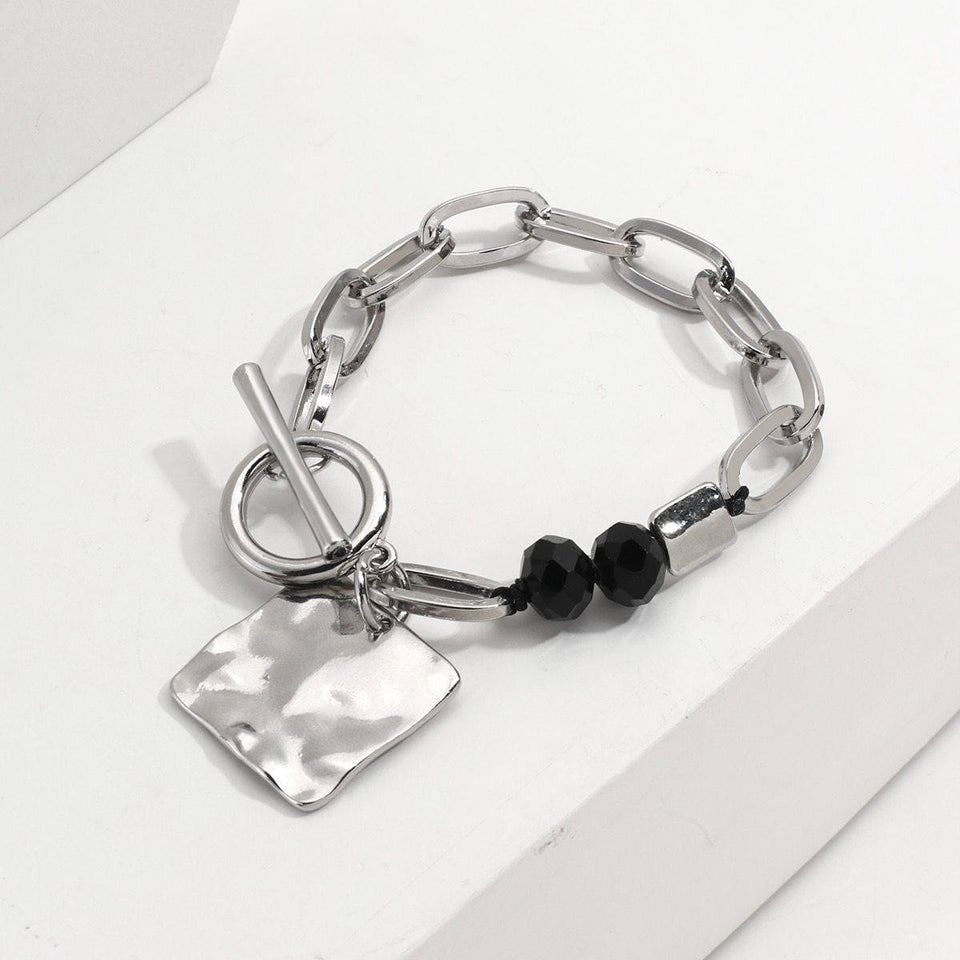 New Fashion Square Metal Chunky Thick Chain Charm Bracelets for Women Crystal Beads Bracelets Minimalist jewelry | Beads, Bracelets, Chain, Charm, Chunky, Crystal, Fashion, Flashbuy, for, jewelry, Metal, Minimalist, New, Square, Thick, Women | akolzol