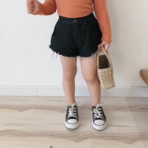 Summer fashion girls denim Fringed shorts Korean style kids loose black shorts | akolzol
