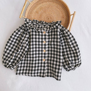 2020 Autumn infant girls pure cotton floral long sleeve shirts baby girls casual plaid shirt Tops clothes 0-2Y | akolzol