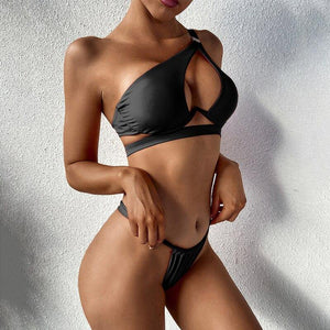 Underwrie push up swimsuit Sexy one-shoulder bikini set Hollow out swimwear women High cut bathing suit Solid beach wear | akolzol