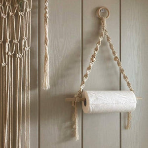 Wooden Toilet Paper Holder Tapestry Wall Hanging Room Boho Decor Bathroom Towel Storage Racks Dispenser For Kitchen (01) | akolzol