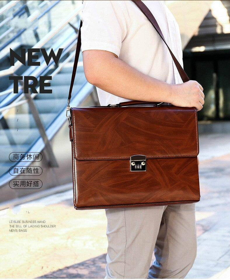 "Fashion Male Business Shoulder Briefcase Bring Password Lock Computer Leather 15"" Laptop Messenger Office Bags Handbag for Men 
