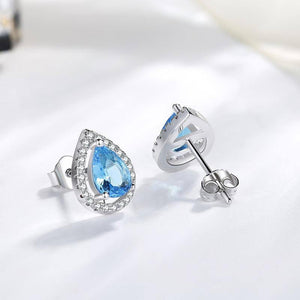 925 Silver Color Earring for Women Blue Topaz Bizuteria Sapphire Gemstone Fashion Garnet Silver 925 Jewelry stud Earrings (Blue) | akolzol