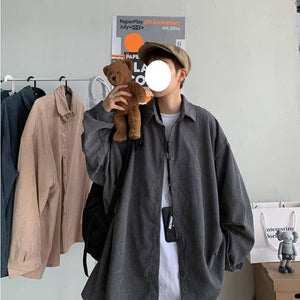 Autumn Corduroy Shirt Men's Fashion Solid Color Retro Casual Shirts Mens Streetwear Wild Loose Long-sleeved Shirt Men M-2XL | Autumn, Casual, Color, Corduroy, Fashion, Longsleeved, Loose, man fashion, Men, Men Shirt, Mens, Retro, Shirt, Shirts, Solid, Streetwear, Wild, XL | akolzol