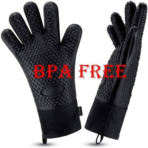 Silicone Oven Mitts Heat Resistant 2PC Baking Gloves Kitchen Barbecue Cooking Grill Long Sleeve Gloves Inner Cotton BPA Free Blk | akolzol