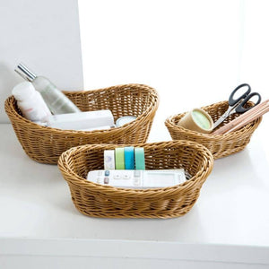 Wicker Woven Basket Organizer Kitchen Bread Tray Serving For Food Fruit Cosmetic Laundry Baskets Tabletop Bathroom Storage Ingot | akolzol