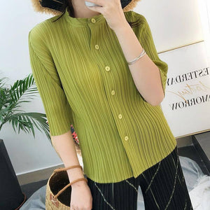 2020 autumn Pleated women Korean fashion high Quality elegant temperament black long button up shirt designer clothes | akolzol
