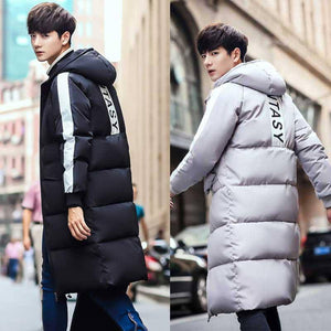 Medium-long Style Parkas Men Hooded Letter Printed Chic Couples Plus Size 3XL Mens Teens BF Daily long Coats korean style trendy | akolzol