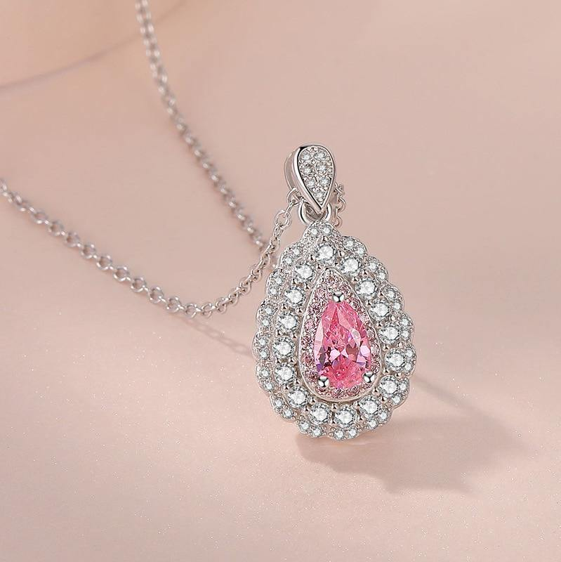 925 Sterling Silver Color Necklace VVS2 Diamond Pendant for Women Fashion Pink Pierscionki Gemstone 925 Jewelry Pendant | akolzol