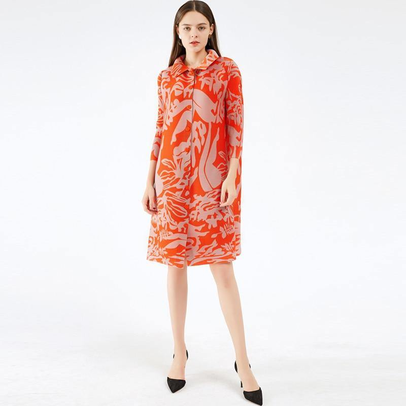 pleated abstract print dress lapel cardigan button dress loose long sleeve plus size long dress | akolzol