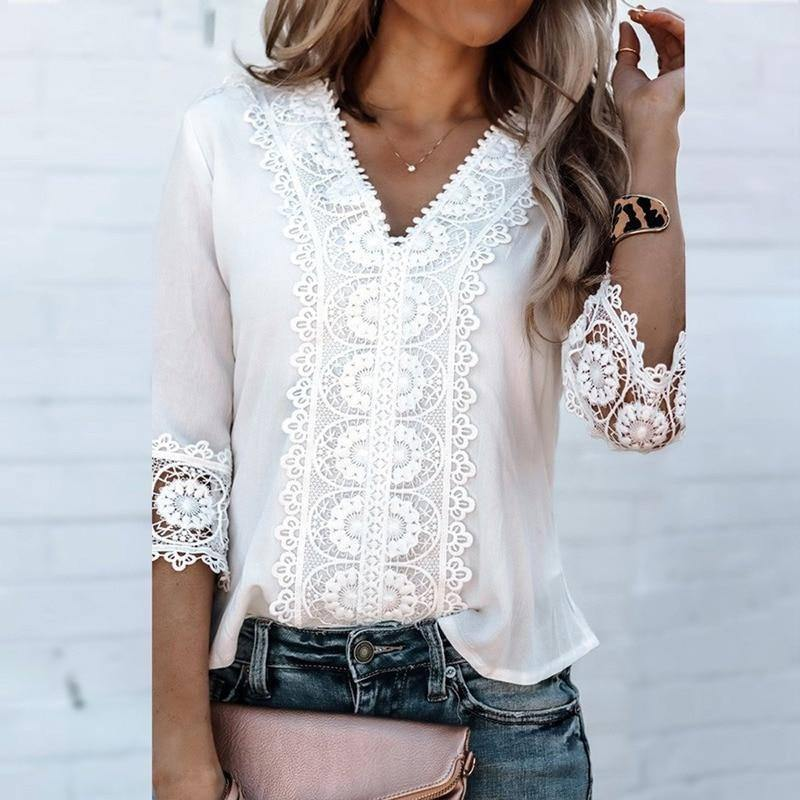 New Spring Autumn Loose Large Size Lace Shirt Women Long-sleeved Solid Color Deep V-neck Tops Fashion Women Fall Clothing 2021 | 2021, Autumn, Clothing, Color, Deep, Fall, Fashion, Lace, Large, Longsleeved, Loose, New, Shirt, Size, Solid, Spring, Tops, Vneck, Women | akolzol