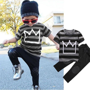 2-7years Kids Boys Clothes Set Crown Print T-Shirt For Boys Tops Gray Long Pants Boys Set Children Boys Clothing Set Kids Outfit | 27, Boys, Children, Clothes, Clothing, Crown, For, Gray, Kids, Long, Outfit, Pants, Print, Set, Tops, TShirt, years | akolzol