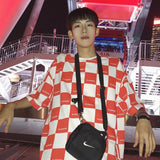 2020 New Ulzzang Harajuku Korean T-shirt Fashion Black White Checkerboard Plaid Short-sleeved O Neck Loose Casual Men's T-shirt | akolzol