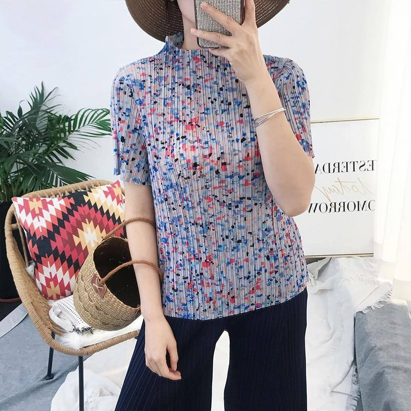 2020 spring summer pleated angel trendy top Korean style loose Turtleneck purple spot aesthetic pattern clothes T-shirt | akolzol