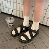 Summer Women Sandals Buckle Girl Rome Soft Jelly Sandals Open Toe Platform Comfortable Female Casual Flat Beach Shoes | akolzol