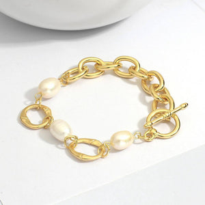 New Design Three Pearls Thick Chain Bracelets for Women Gold Color Metal Bracelet Party Jewelry Gift | Bracelet, Bracelets, Chain, Color, Design, Flashbuy, for, Gift, Gold, Jewelry, Metal, New, Party, Pearls, Thick, Three, Women | akolzol