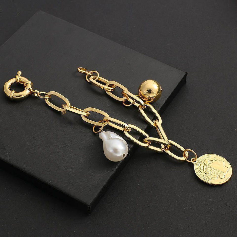 Trendy Gold Color Portrait Coin Charm Bracelets for Women Big Pearl Metal Ball Chunky Thick Chain Bracelet Jewelry | Ball, Big, Bracelet, Bracelets, Chain, Charm, Chunky, Coin, Color, Flashbuy, for, Gold, Jewelry, Metal, Pearl, Portrait, Thick, Trendy, Women | akolzol