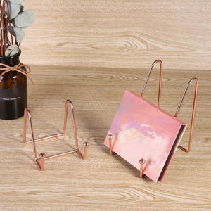 Household Decorative Bracket Simple Reading Bookshelf Easel Exquisite Stand Metal Book Magazine Photo Book-Reading Display Stand | akolzol