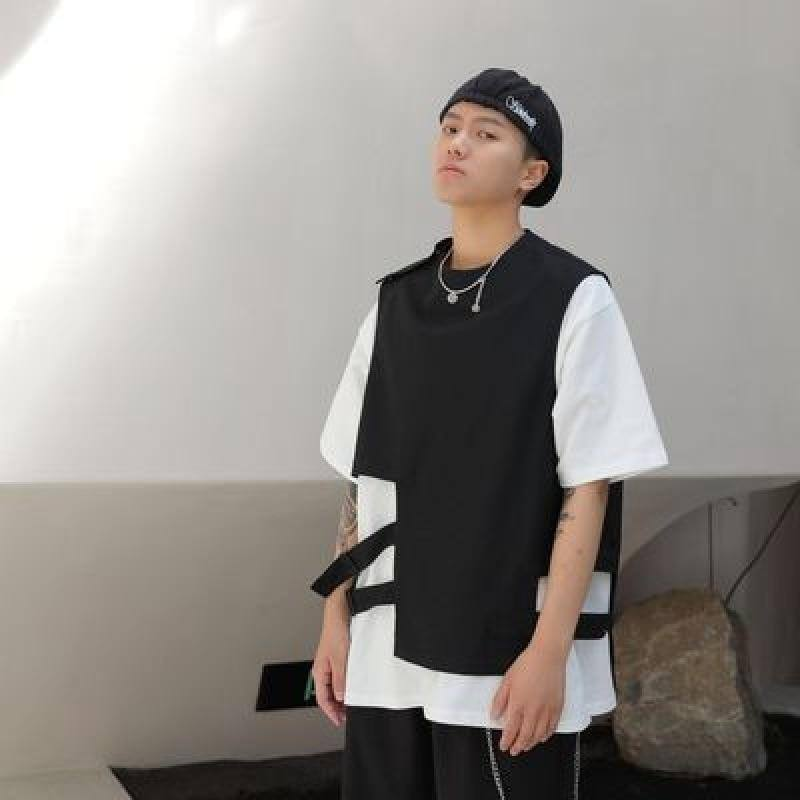 T-shirt summer 2020 new Harajuku short sleeve irregular dark vest double fashion round neck vest | akolzol