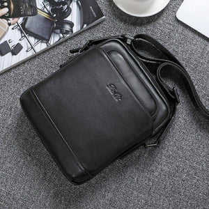 Natural Cowskin Fashion Brand Designer Men's Crossbody Bags Genuine Leather Shoulder Bag Small Male Messenger Bags for Business (Black) | akolzol