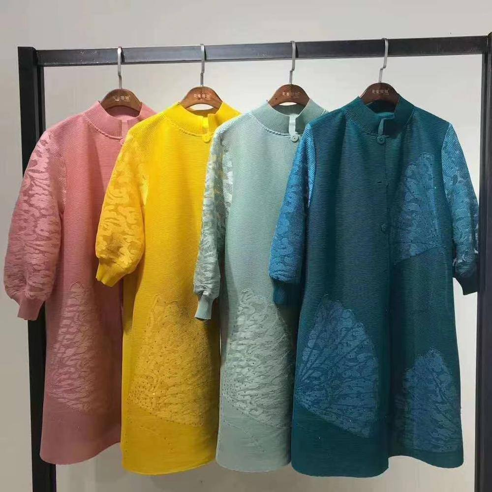 2020 summer cardigan button dress embroidered butterfly long sleeve hollowed out with beads diamonds plus size flowery dress | akolzol